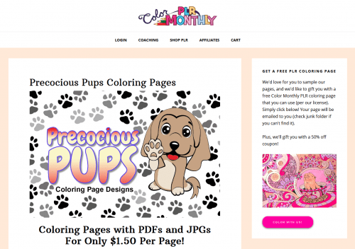 10 FREE Doggy PLR Coloring Pages