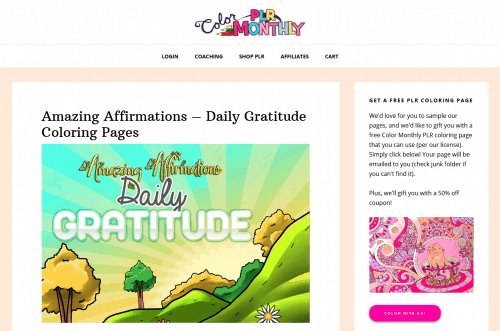 Amazing Affirmations – Daily Gratitude PLR Coloring Pages