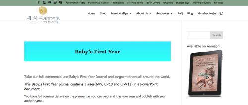 Babys First Year PLR Journal