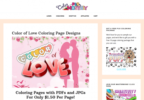 Color of Love PLR Coloring Page Designs – 30-page coloring package