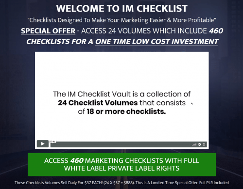 IM Checklists – 460 Marketing PLR Checklists Blowout
