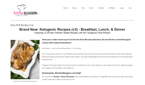 Ketogenic Recipes v3 PLR Recipes and Photo Package