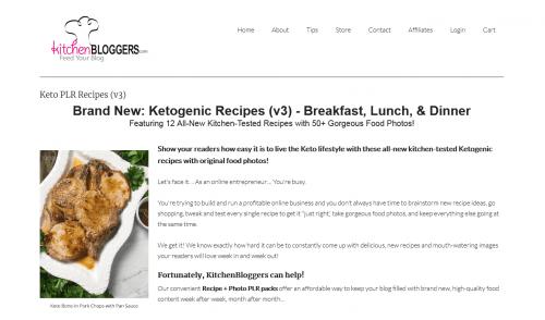 Ketogenic Recipes v3 PLR Recipes and Photo Package