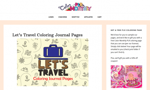 Lets Travel PLR Coloring Journal Pages