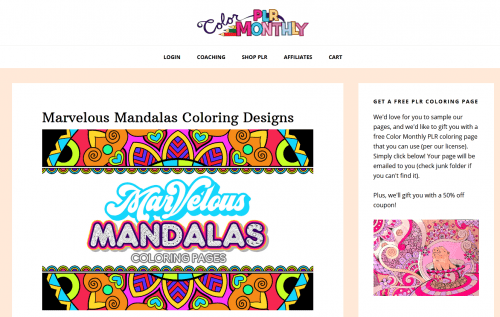 Marvelous Mandalas Designs PLR Coloring Pages