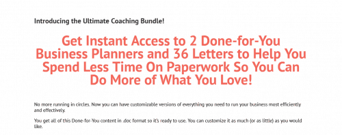 Ultimate Coaching Bundle Done-For-You Business Planners and Coaching Letters