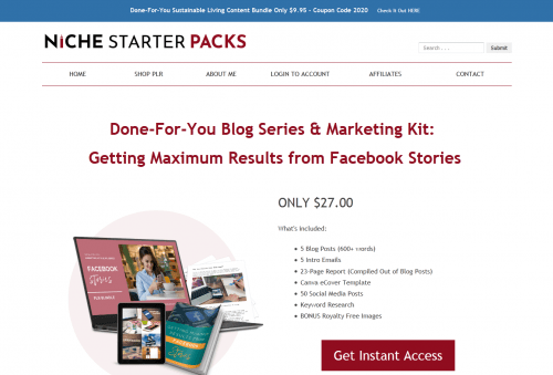 Facebook Stories Done-For-You PLR Blog Series and Marketing Kit
