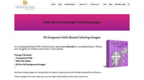 Faith Based Zentangle Inspired PLR Coloring Images