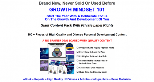 Growth Mindset PLR Package Over 300 Piece Giant PLR
