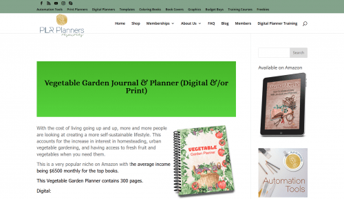 Digital Vegetable Garden PLR Planner
