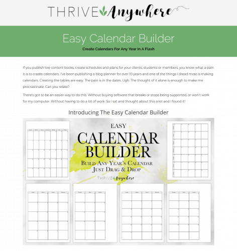 Easy PLR Calendar Builder Calender Creation Templates