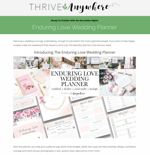 Enduring Love Wedding PLR Planner