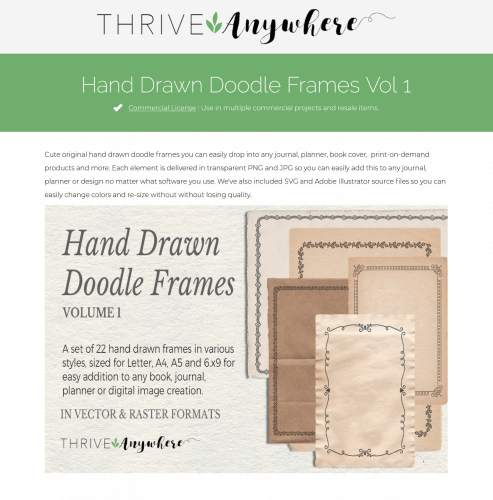 Hand Drawn Doodle Frames PLR Journal Templates