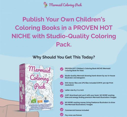 Mermaid PLR Coloring Book Pack for Kids