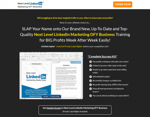 Next Level LinkedIn Marketing DFY Business Training PLR Funnel