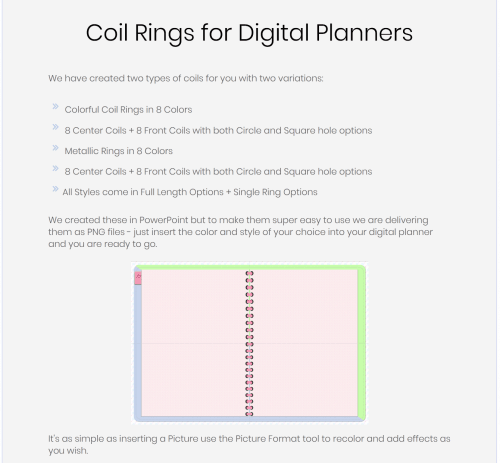 PLR Spiral Coil Rings for Digital Planners
