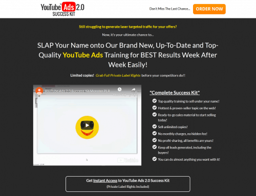 YouTube Ads 2.0 Success PLR Toolkit Sales Funnel
