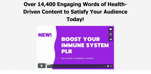 Boost Your Immune System PLR Package – Quality Content