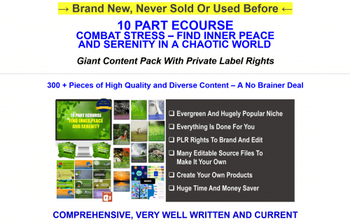 Combat Stress Find Inner Peace And Serenity Huge PLR Pack