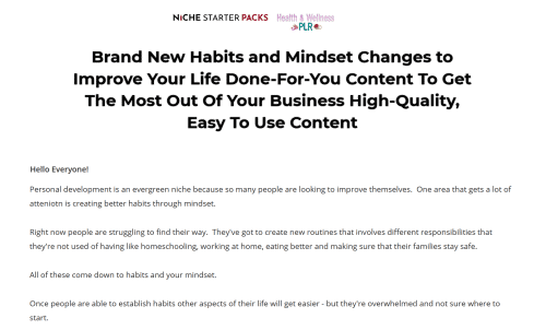 Habits and Mindset Changes to Improve Your Life PLR Bundle