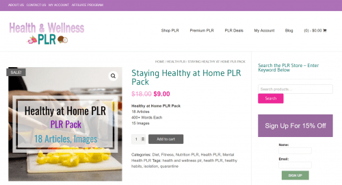 Staying Healthy at Home PLR Package