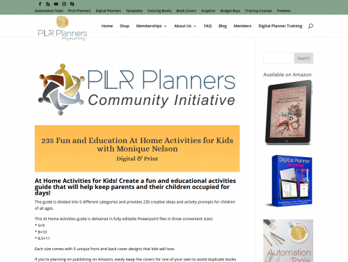 235 Fun and Education At PLR Home Activities for Kids PLR Printables
