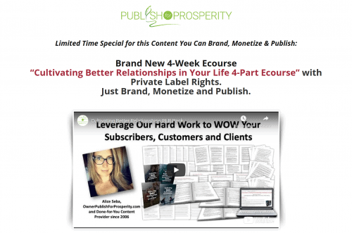 Cultivating Better Relationships in Your Life 4-part PLR Ecourse