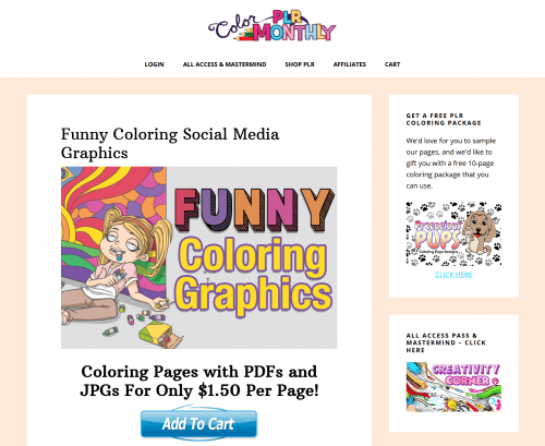 Funny PLR Coloring Social Media Graphics