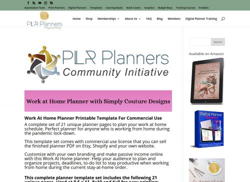 Work at Home PLR Planner with Simply Couture Designs