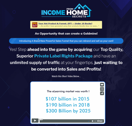 Income from Home Secrets PLR Sales Funnel