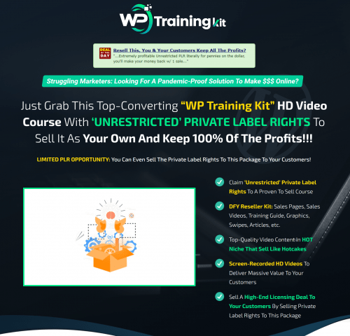WP Training Kit Unrestricted WordPress PLR Videos Resell PLR