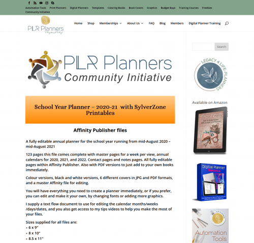 School Year PLR Planner – 2020-21 Printables