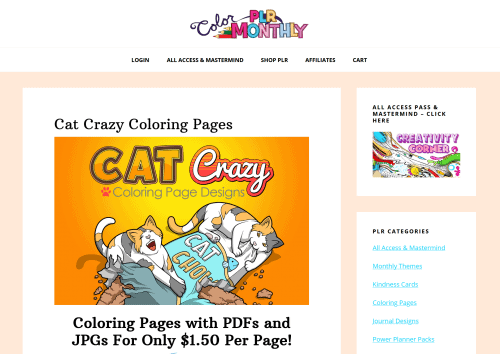 Crazy Cats Free PLR Coloring Pages