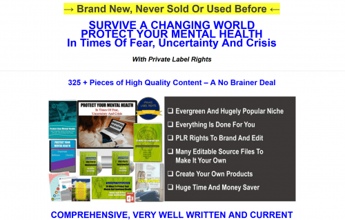 Protect Mental Health Giant 325 Piece PLR Pack