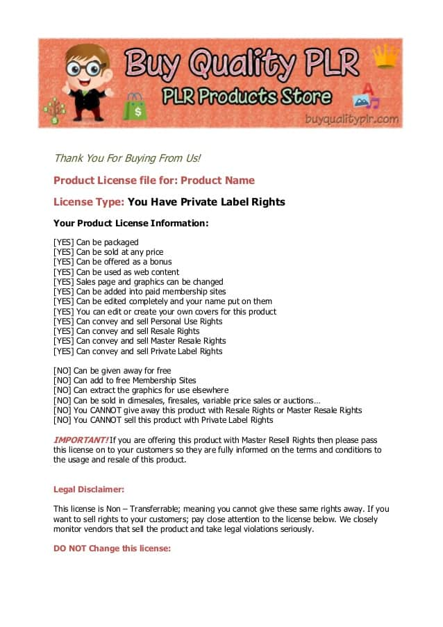 private label rights license, plr license, types of plr, plr content