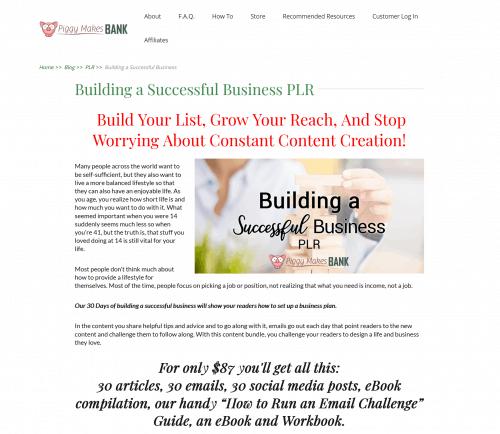 30 Days Building a Successful Business Plan PLR Bundle