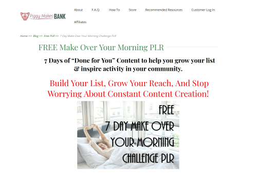Make Over Your Morning FREE PLR Pack