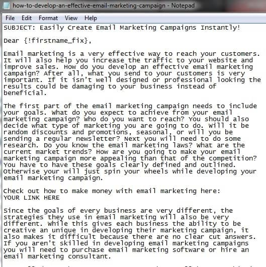 E-Mail Marketing autoresponder series sample email buyqualityplr