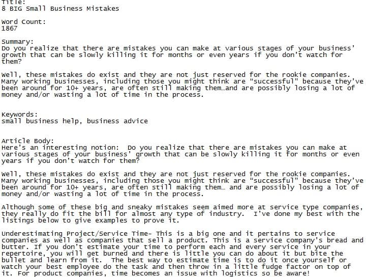 Business PLR Articles Pack - Sample PLR Article 3