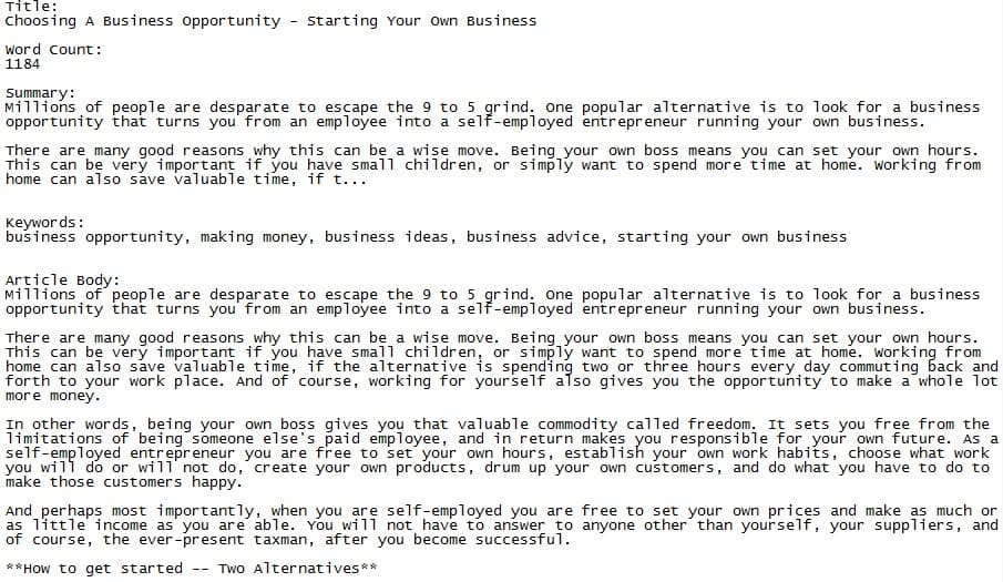 business plr article