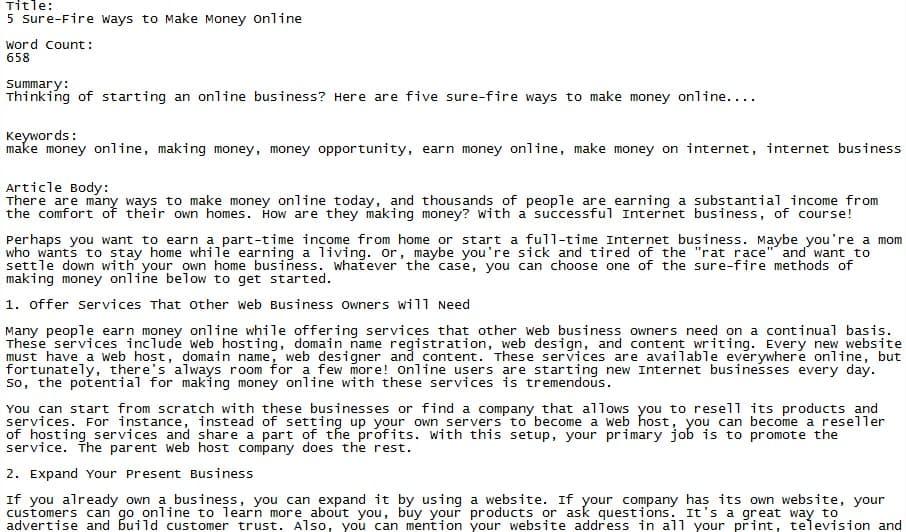 Make Money Online PLR Article