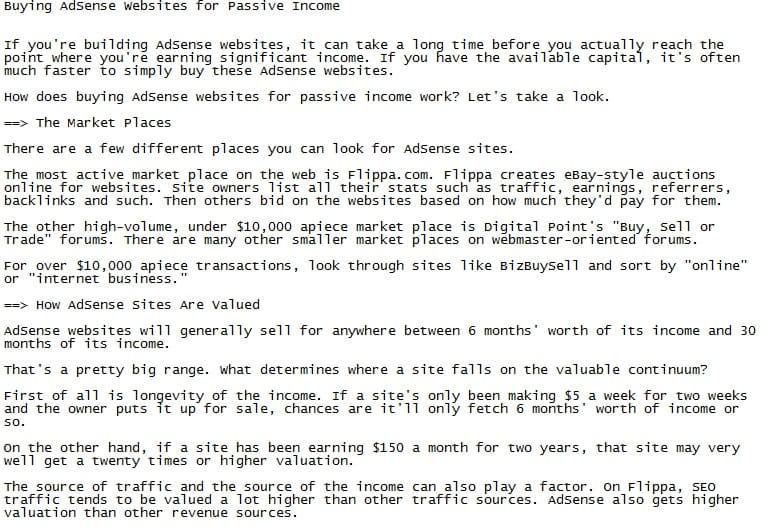 Adsense PLR Articles Sample