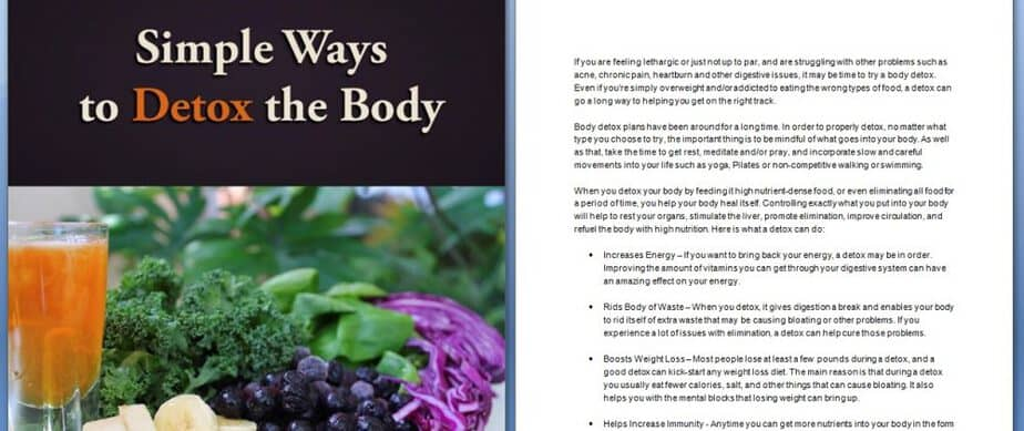 Detoxing the Body PLR Report Sample Content