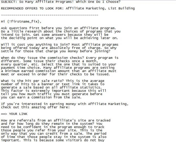 Affiliate Marketing PLR Email Sample Article