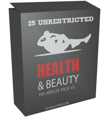 25 UNRESTRICTED HEALTH AND BEAUTY PLR ARTICLES PACK V3