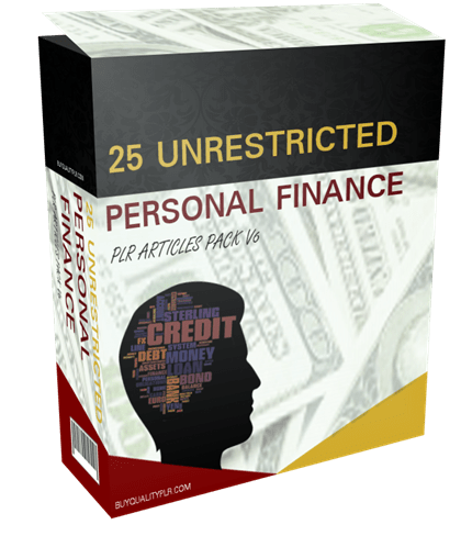 25 Unrestricted Personal Finance PLR Articles Pack V6