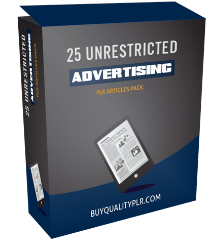 25 UNRESTRICTED ADVERTISING PLR ARTICLES PACK