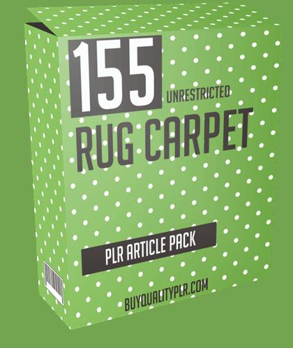 155 Unrestricted Rug Carpet PLR Article Pack