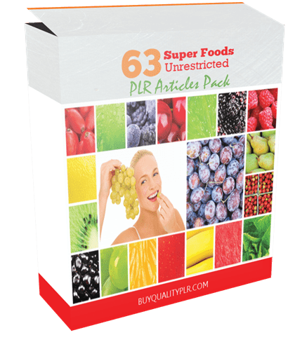 63 Unrestricted Super Foods PLR Articles Pack