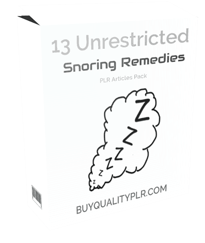 13 Unrestricted Snoring Remedies PLR Articles Pack